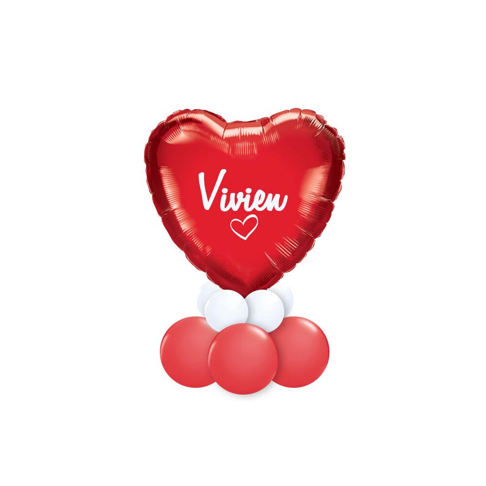 Feliratozható Piros Fehér Szív Alakú Ajándék Dekoráció Lufiból Valentin-napra