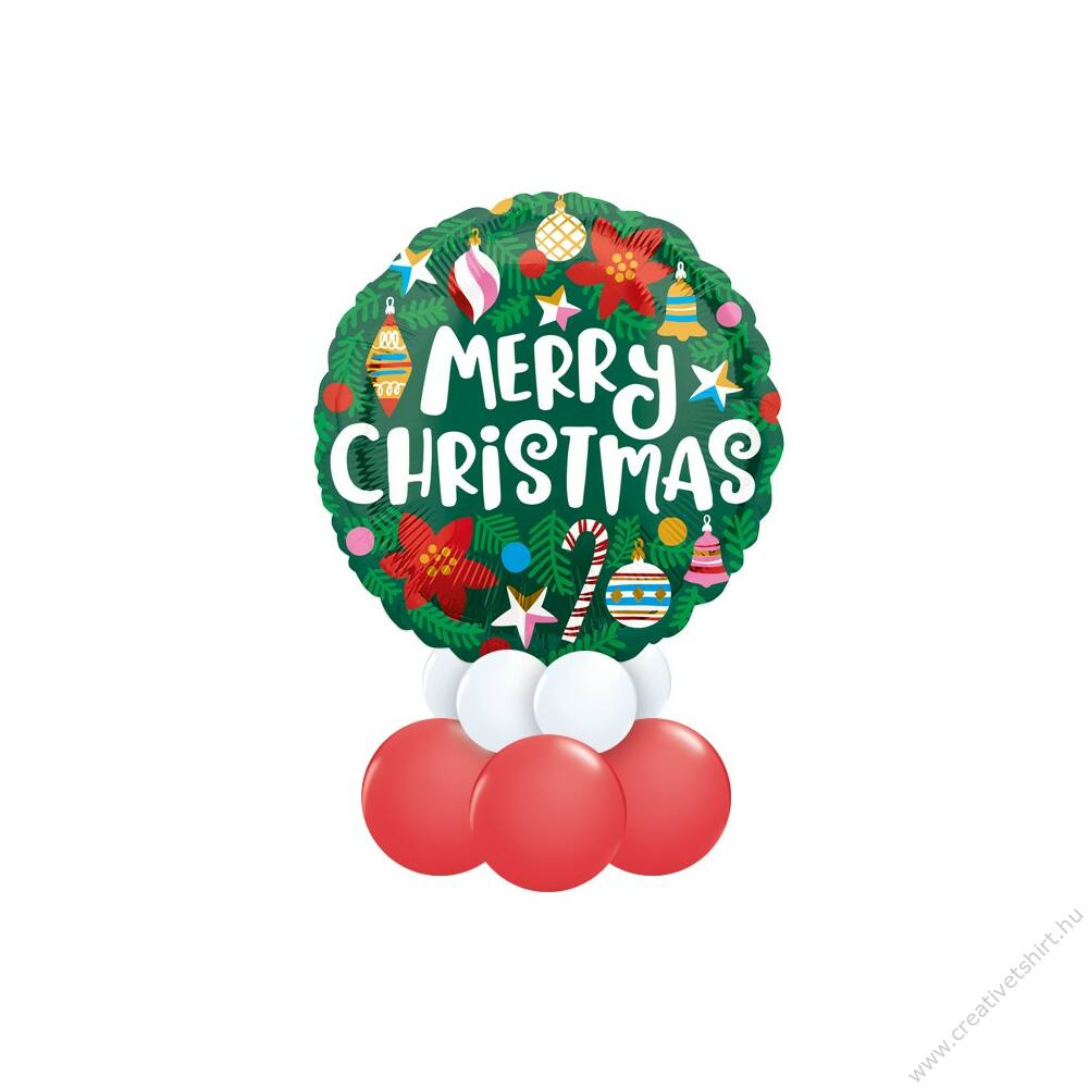 Karácsonyi Dísz Mintás Zöld Fehér Piros Ajándék Dekoráció Lufiból Karácsonyra