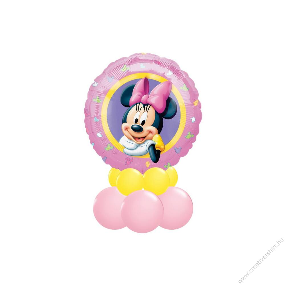 Minnie Egér - Minnie Mouse Mintás Sárga Pink Ajándék Dekoráció Lufiból
