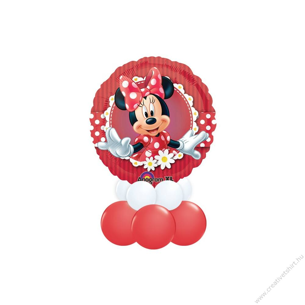 Minnie Egér 2 - Minnie Mouse II Mintás Piros Fehér Ajándék Dekoráció Lufiból