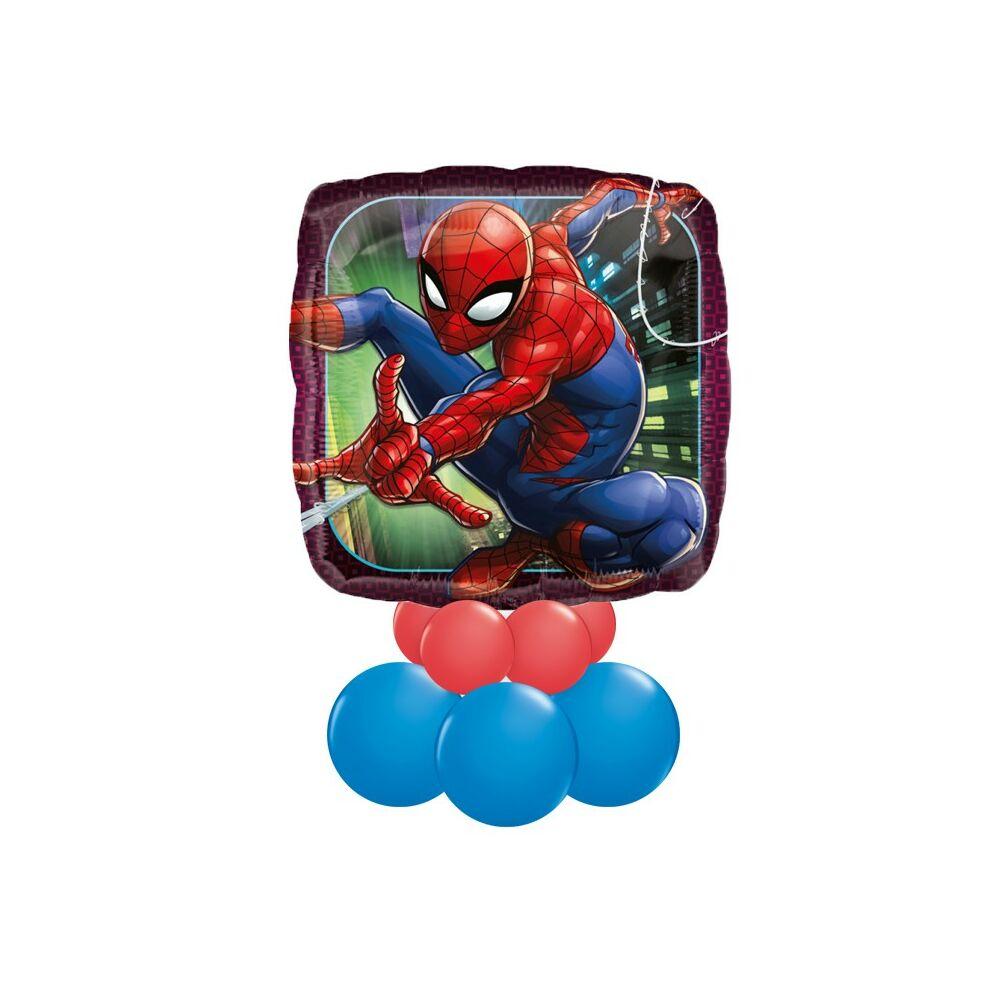 Pókember - Spiderman Mintás Kék Piros Ajándék Dekoráció Lufiból