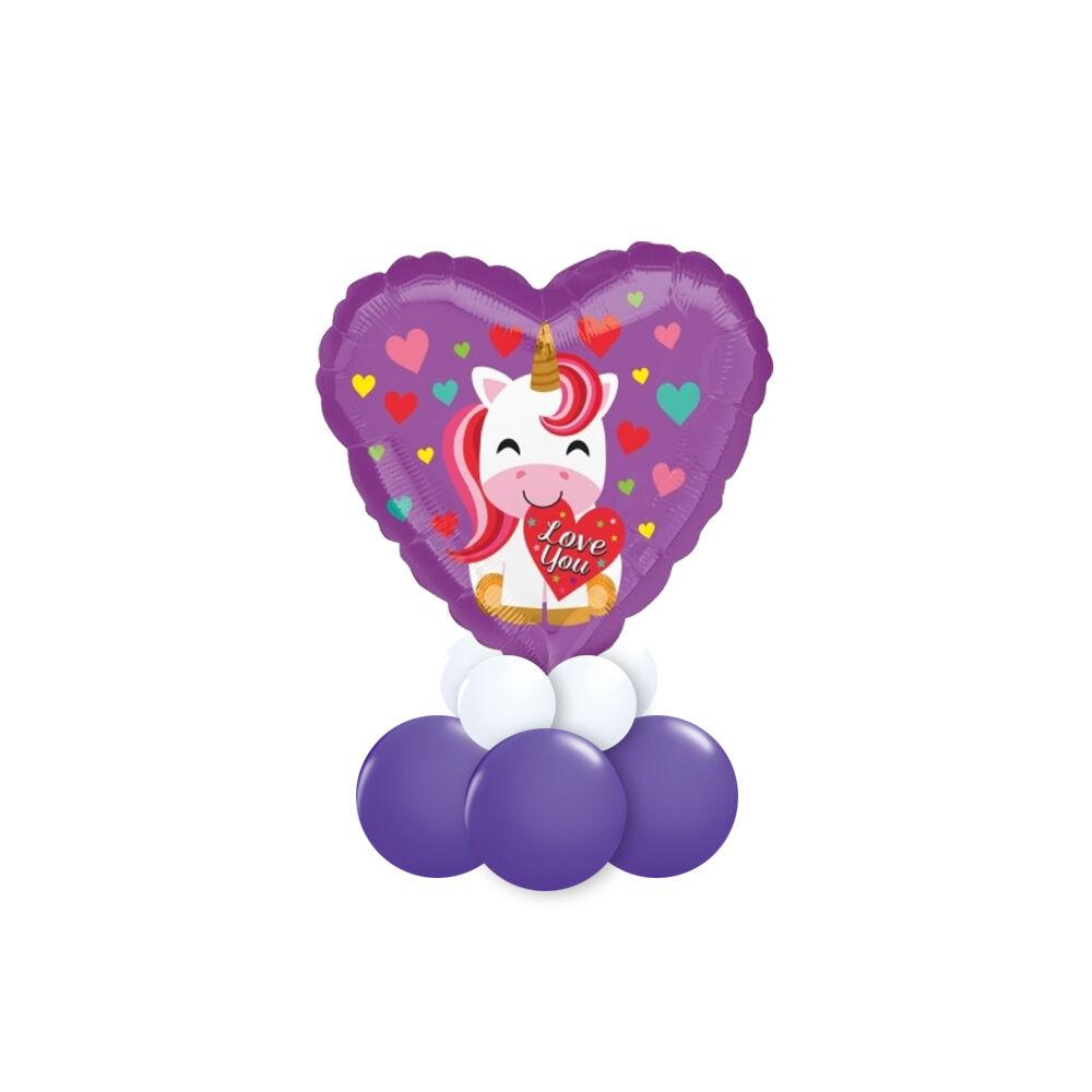 Unikornis Szívvel Ajándék Dekoráció Lufiból Valentin-napra