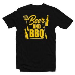 Beer and BBQ Ajándék Póló Grill Rajongóknak
