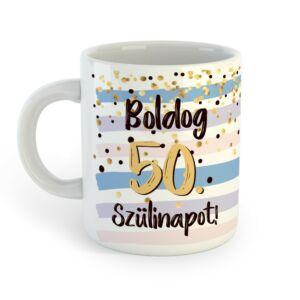 Boldog 50. Szülinapot Feliratú Kék Arany Ajándék Bögre