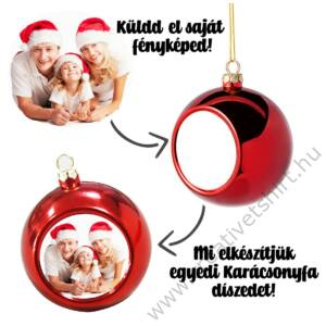 Saját Fényképes Ezüst Karácsonyfa Dísz 2