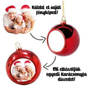 Saját Fényképes Arany Karácsonyfa Dísz 2
