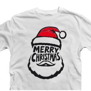 Merry Christmas Mikulás Fej Karácsonyi Ajándék Póló 2