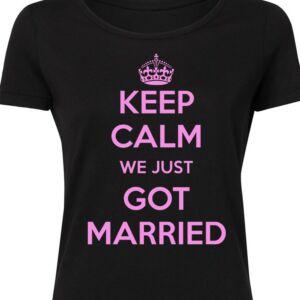 Keep Calm We Just Got Married' Feliratos Lánybúcsú Női Póló 2