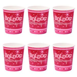 Boldog Szülinapot Rózsaszín Parti Pohár - 250 ml, 6 db-os 2