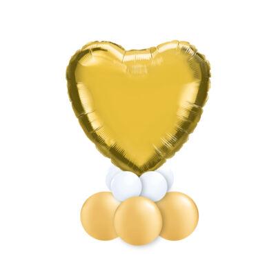 Feliratozható Arany Fehér Szív Alakú Ajándék Dekoráció Lufiból Valentin-napra 2