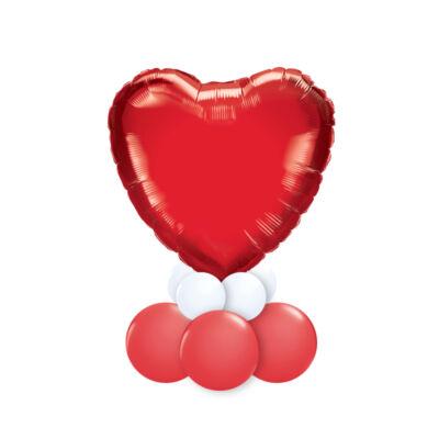 Feliratozható Piros Fehér Szív Alakú Ajándék Dekoráció Lufiból Valentin-napra 2