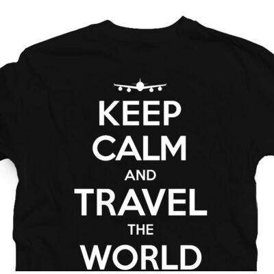 Keep Calm and Travel Utazós Feliratos Póló 2
