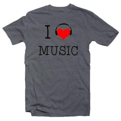3261e1ea58 I Love Music Zenei Feliratos Póló - Ruha és Pólónyomás - Vicces ...