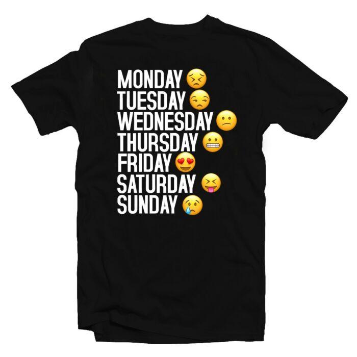 Monday to Sunday Emoji Vicces Póló