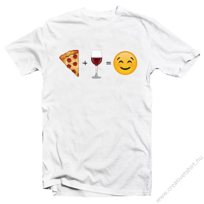Pizza, Wine, Smile Vicces Emoji Póló