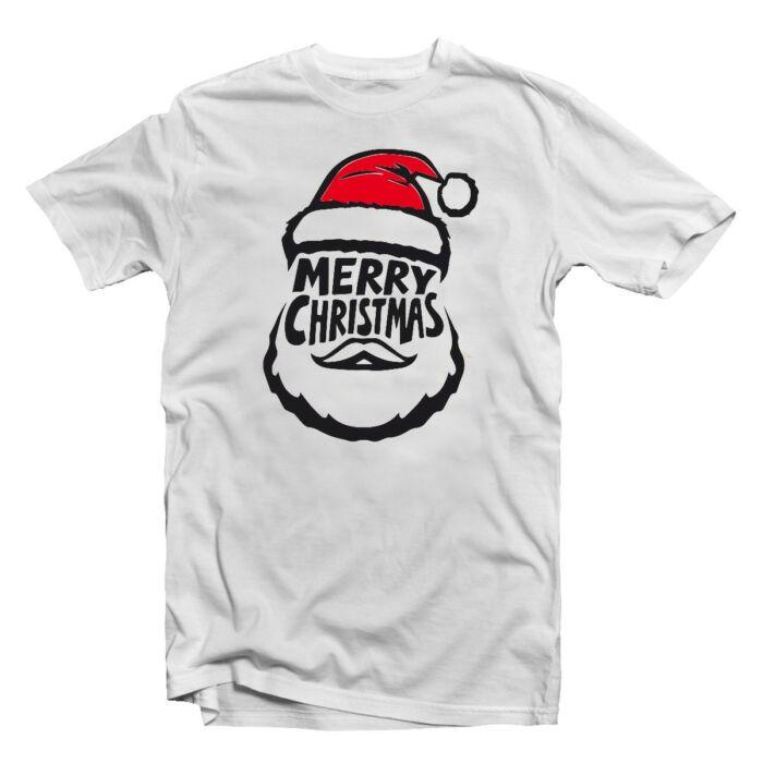 Merry Christmas Mikulás Fej Karácsonyi Ajándék Póló