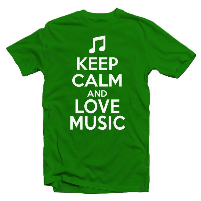 Keep Calm And Love Music Ajándék Póló