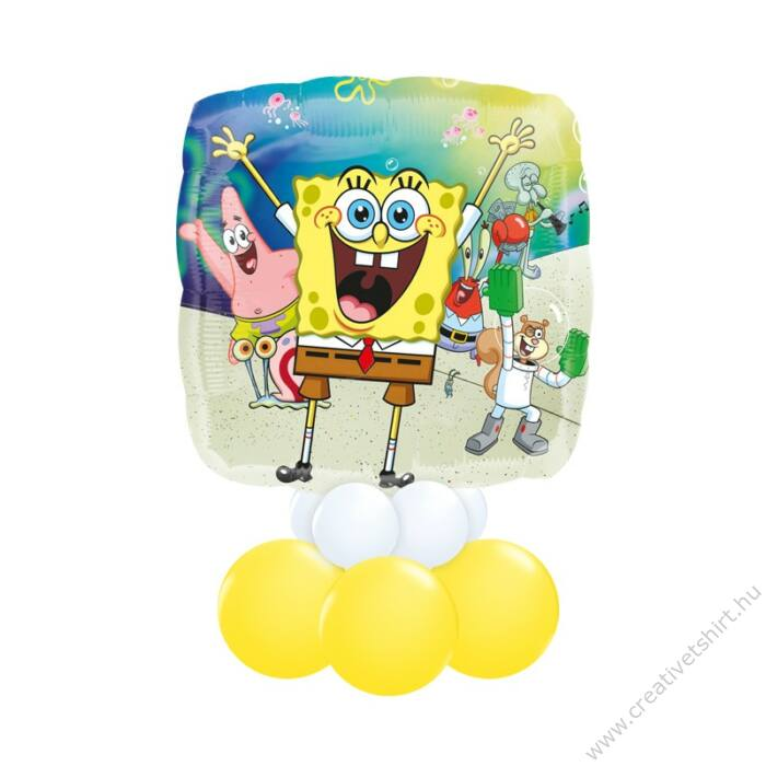 Spongyabob Kockanadrág - Spongebob Squarepants Mintás Fehér Sárga Ajándék Dekoráció Lufiból