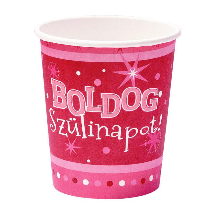 Boldog Szülinapot Rózsaszín Parti Pohár - 250 ml, 6 db-os