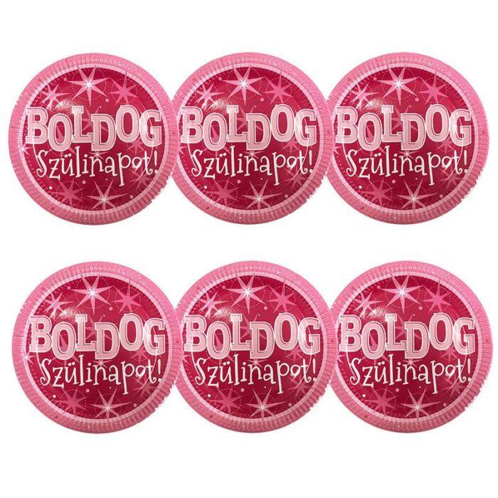 Boldog Szülinapot Rózsaszín Parti Tányér, 23 cm, 6 db-os