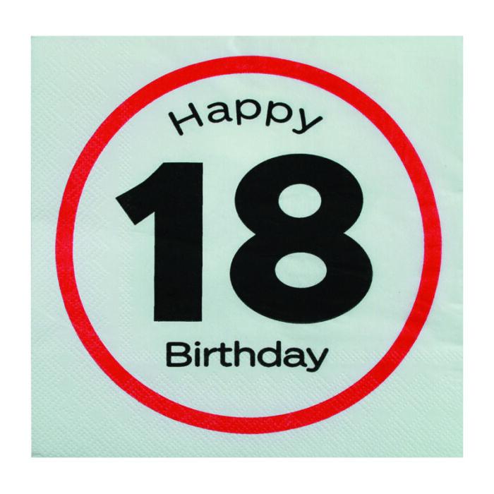 Happy Birthday 18-as Sebességkorlátozó Szülinapi Parti Szalvéta - 33 x 33 cm, 20 db-os
