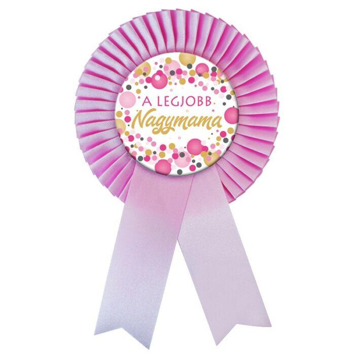 Rózsaszín Szalagos A legjobb Nagymama Kitűző