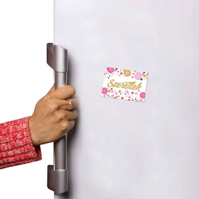 Szeretlek Rózsaszín Pasztell Konfettis Hűtőmágnes